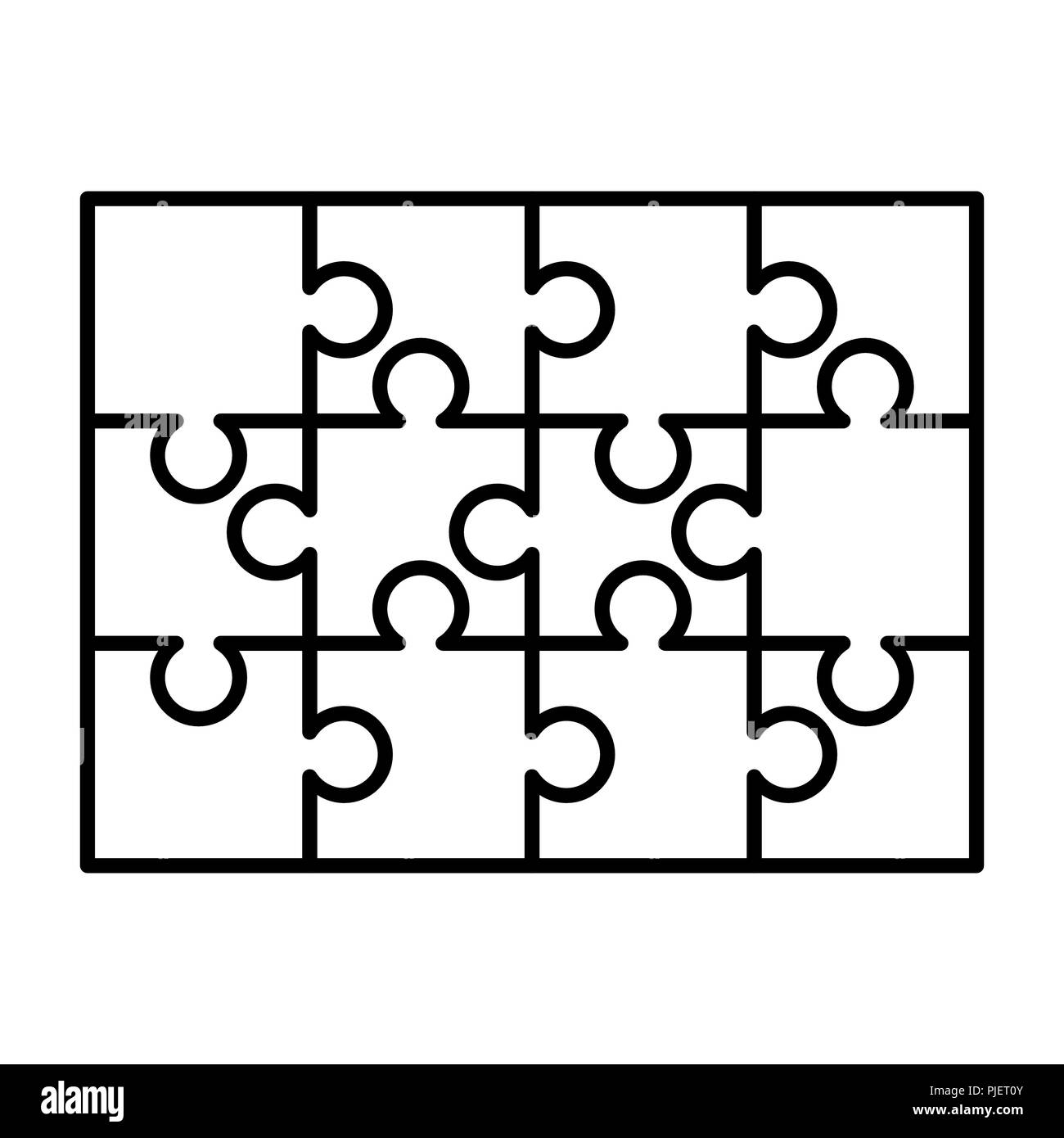 graphic regarding Printable Puzzle Piece named 12 white puzzles areas organized within just a rectangle form