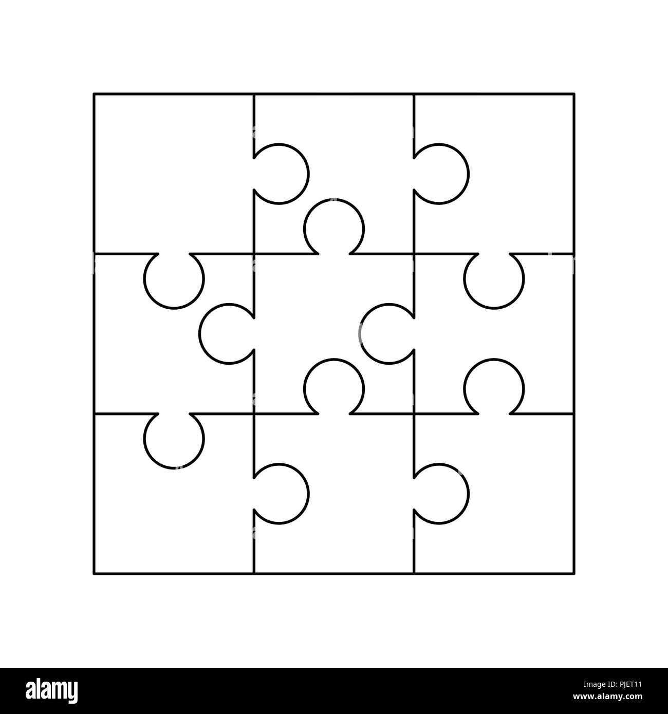 graphic regarding Printable Puzzle Template named 9 white puzzles parts structured within just a sq.. Jigsaw Puzzle