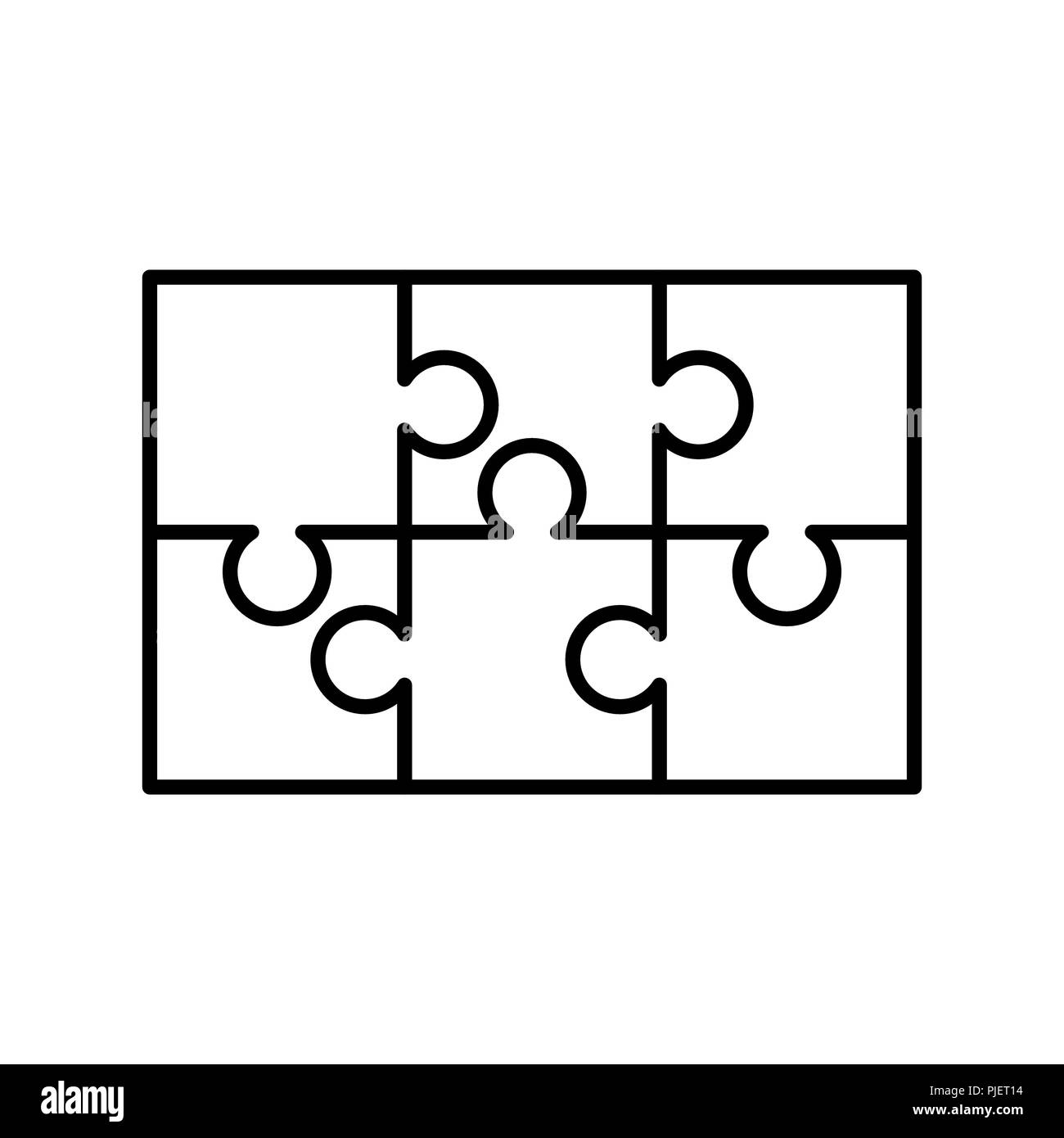 6 White Puzzles Pieces Arranged In A Rectangle Shape Jigsaw Puzzle