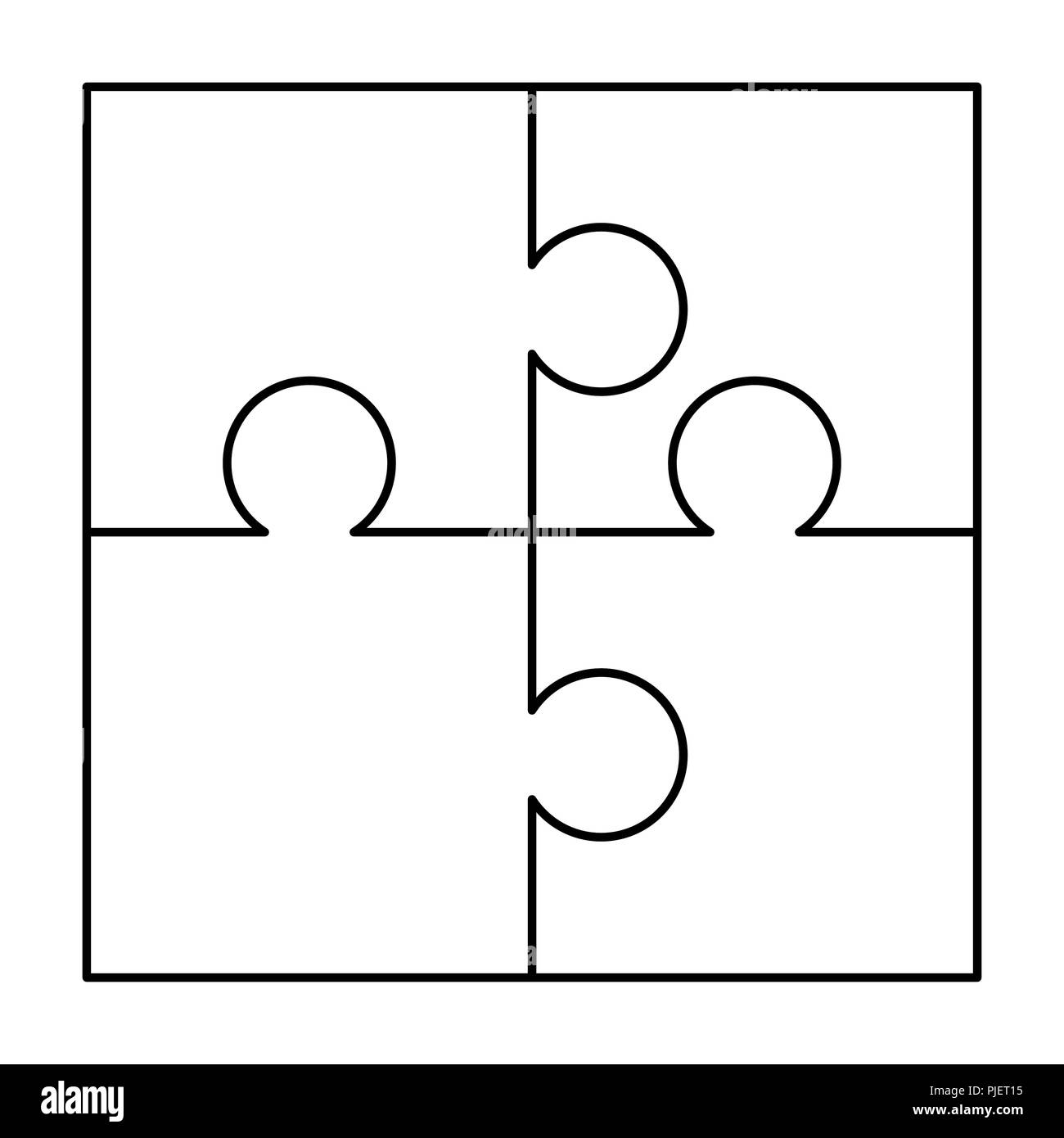 4 White Puzzles Pieces Arranged In A Square Jigsaw Puzzle Template