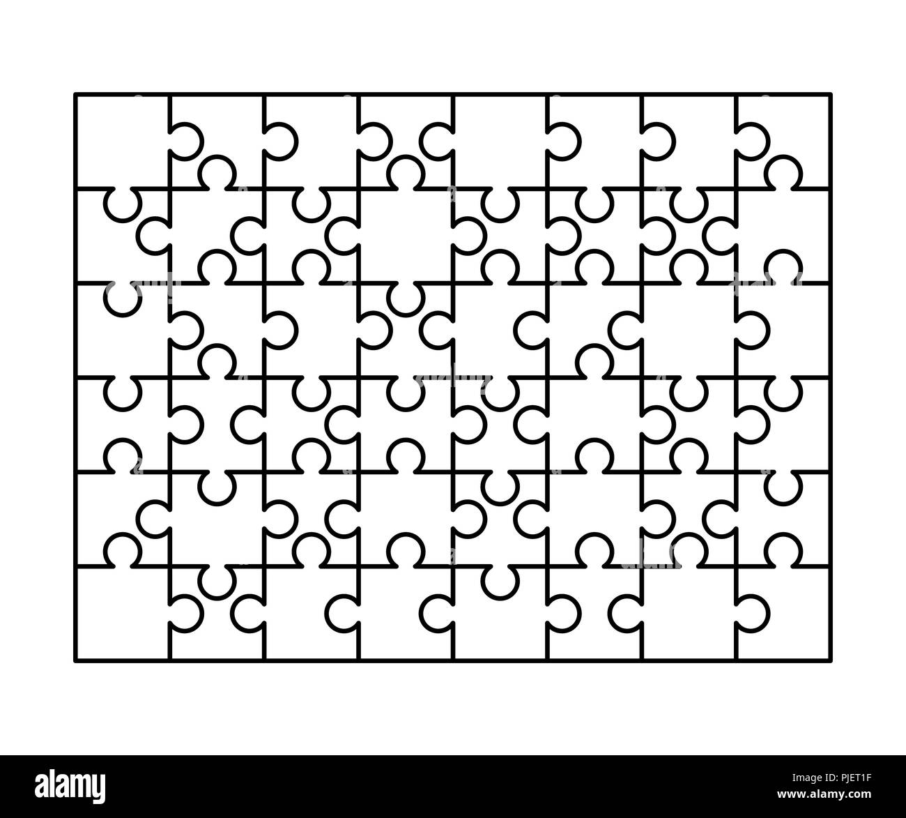 48 White Puzzles Pieces Arranged In A Rectangle Shape Jigsaw Puzzle