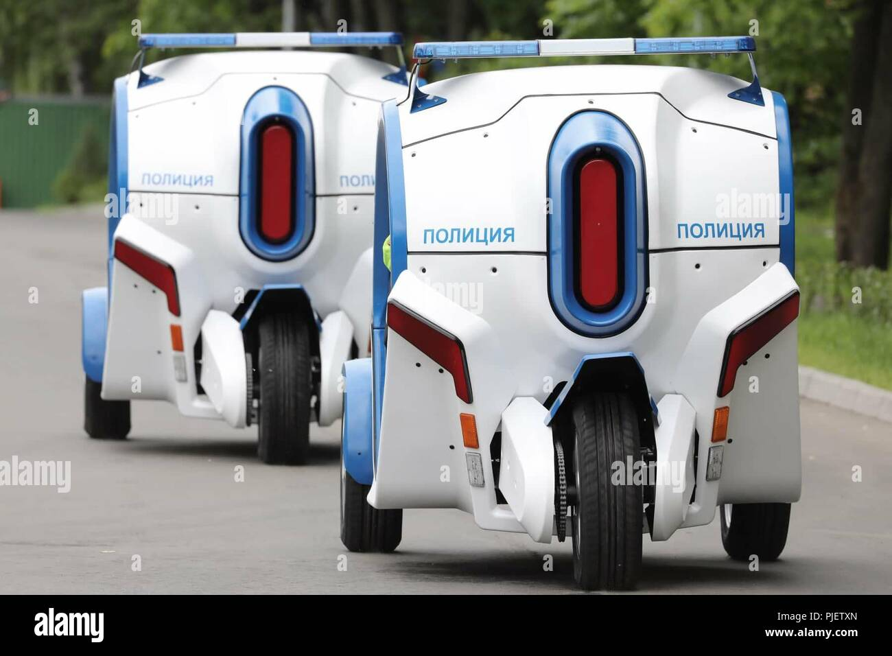Moscow, Russia. 6th Sep, 2018. Electrocar Ovum for the Moscow police by Concern Kalashnikov, Russia. Mandatory credit: Kalashnikov Media Credit: Kalashnikov Media/Russian Look/ZUMA Wire/Alamy Live News - Stock Image