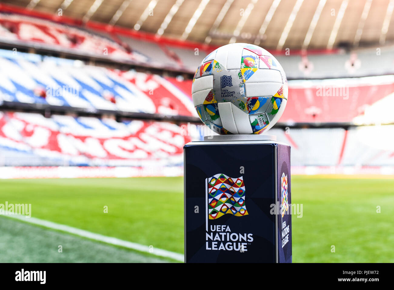 Munich Deutschland 06th Sep 2018 Adidas Uefa Nations League Omb Match Ball With Allianz Arena In The Background Ges Football Uefa Nations League 2018 19 1 Matchday Germany France 06 09 2018 Football Nations League Germany Vs