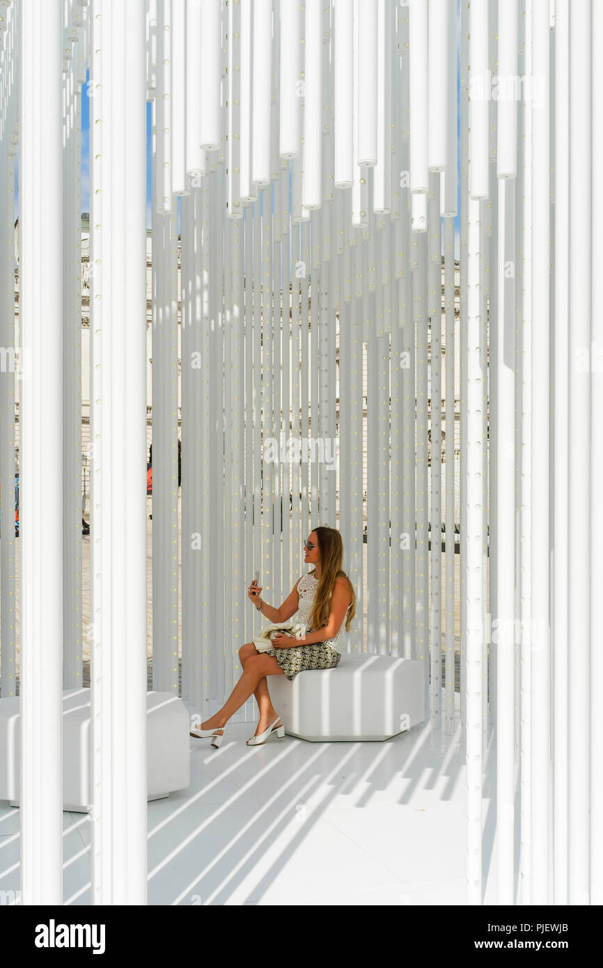 London, UK. 6th September 2018. International design teams from 40 countries are exhibiting interactive design installations on the theme of Emotional States at Somerset House during the London Design Biennale 2018. The exhibition runs from 4-23 September. Pictured: Housemotion (Turkey). Tabanhoglu Architects' installation considers the meaning of home in an age of increasingly transient living. Credit: mark phillips/Alamy Live News - Stock Image