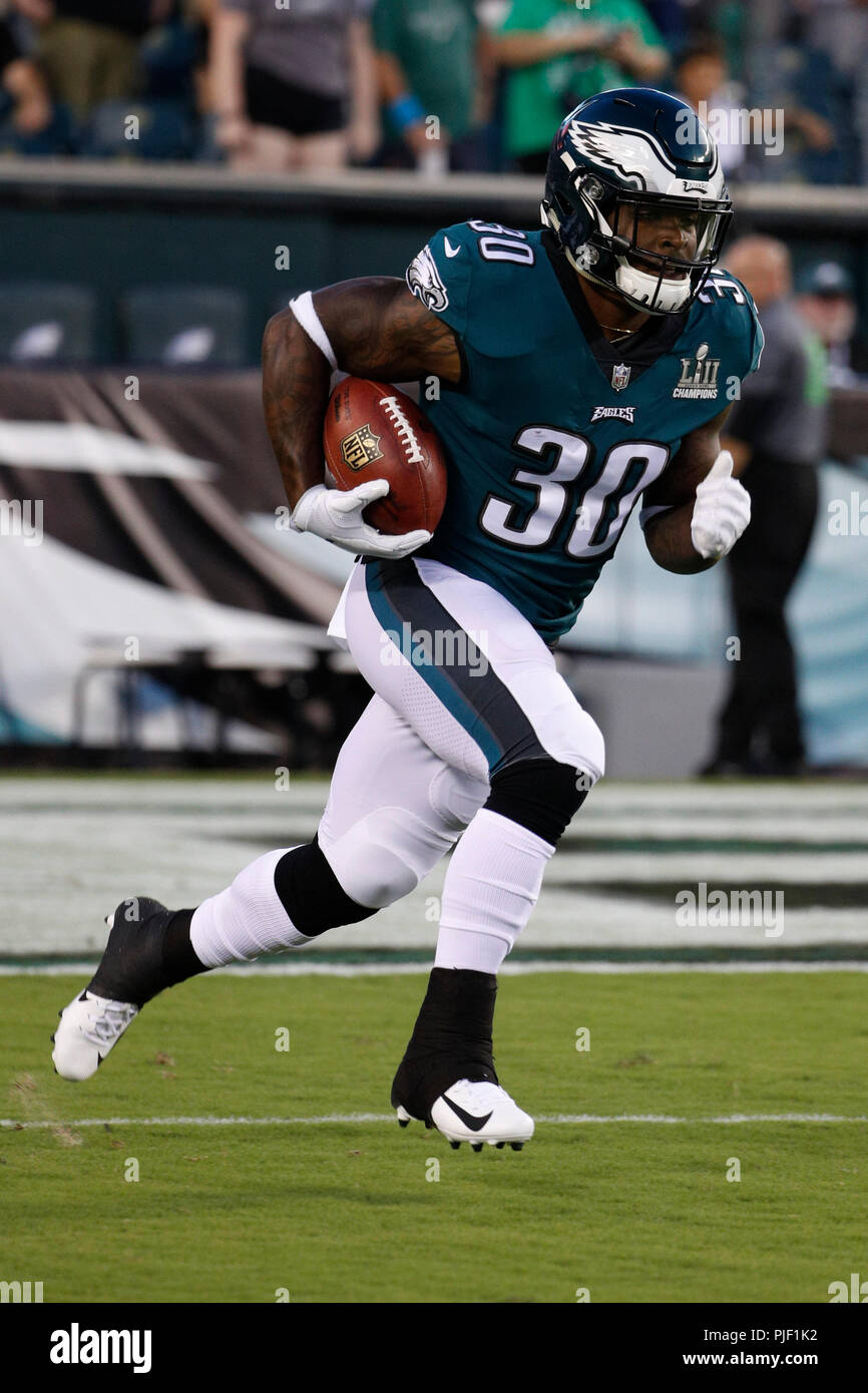 Philadelphia, Pennsylvania, USA. 6th Sep, 2018. Philadelphia Eagles running back Corey Clement (30) in action prior to the NFL game between the Atlanta Falcons and the Philadelphia Eagles at Lincoln Financial Field in Philadelphia, Pennsylvania. Christopher Szagola/CSM/Alamy Live News - Stock Image