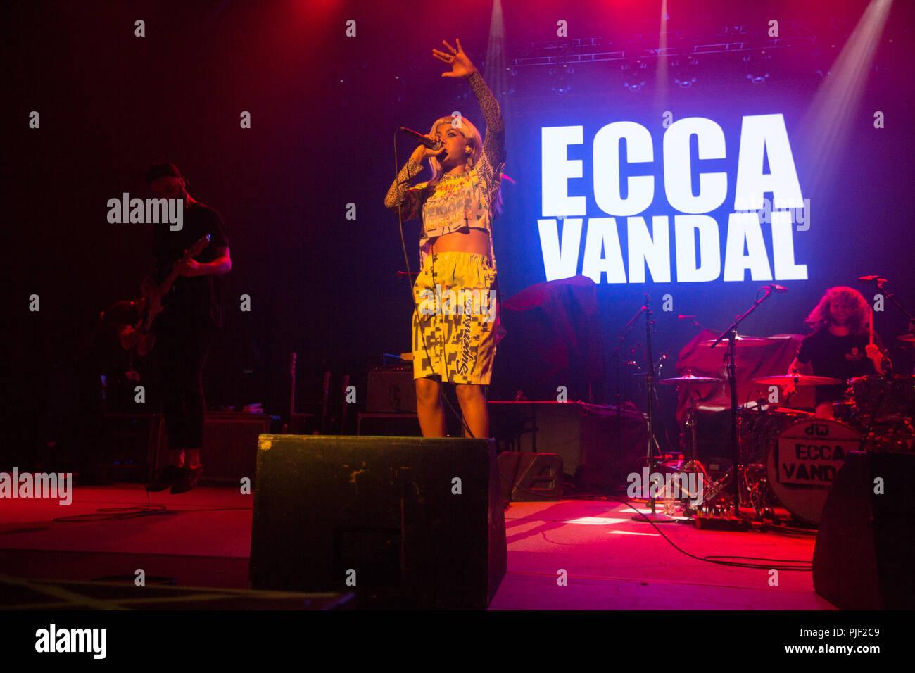 London, UK. 6th September, 2018. 06/9/2018 - Ecca Vandal Supports Incubus tour  at Brixton Academy London UK  -   Mandatory Credit Glamourstock Credit: glamourstock/Alamy Live News Stock Photo