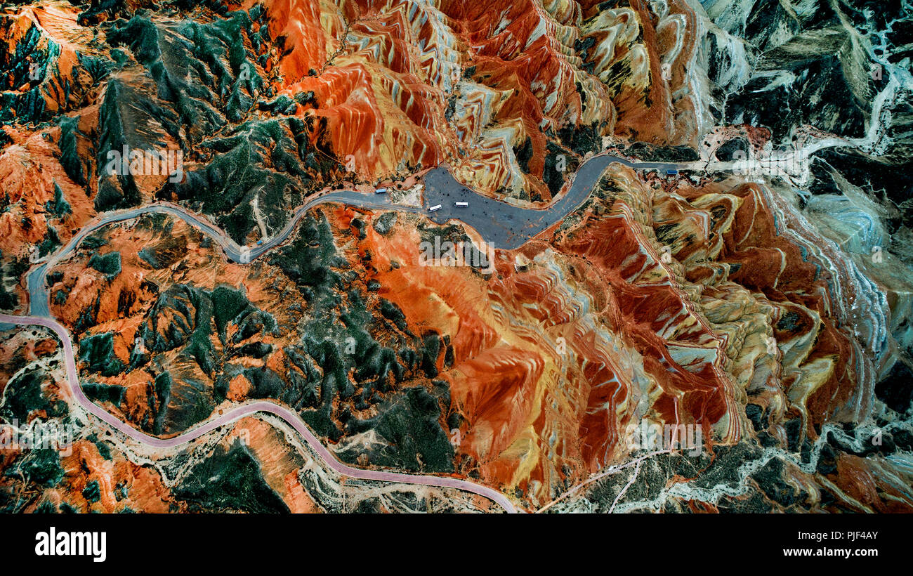 Zhangye. 5th Sep, 2018. Aerial photo taken on Sept. 5, 2018 shows the scenery of Danxia landform at Danxia National Geological Park in Zhangye, northwest China's Gansu Province. Credit: Tao Ming/Xinhua/Alamy Live News - Stock Image