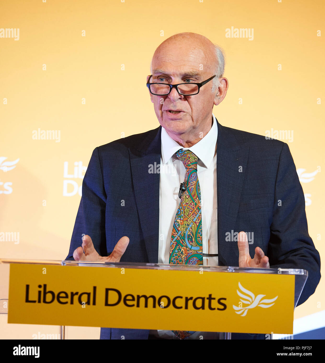 London, UK. 7th Sept 2018. Liberal Democrat leader, Sir Vince Cable, launching the reform proposals for the Liberal Democrat Party in the David Lloyd George Room at the National Liberal Club, London. 7th September, 2018. Credit: Thomas Bowles/Alamy Live News Stock Photo