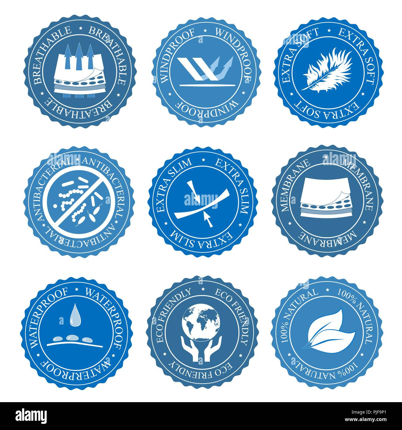 Vector icons set of fabric features. Wind proof, antibacterial, waterproof, membrane, extra soft, and breathable wear labels. Textile industry pictogr - Stock Image