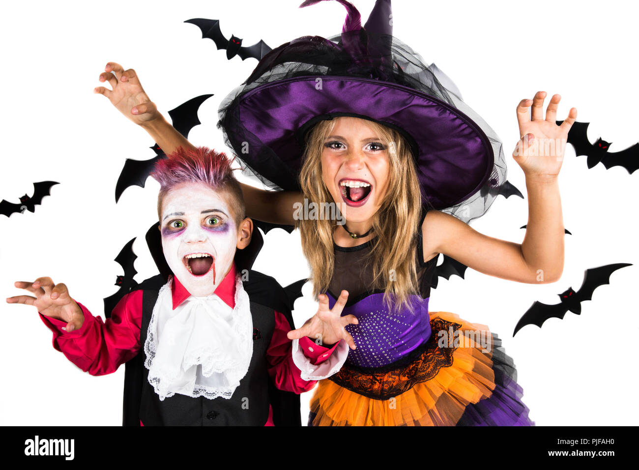 scary halloween costumes for kids stock photos & scary halloween