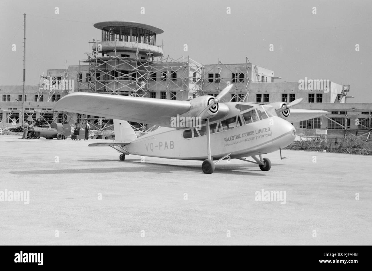 Palestine Airways at Inauguration of Tel-Aviv landing ground. Palestine Airways, Palestine Air Transport was an airline founded by Zionist Pinhas Rutenberg in British Palestine, in conjunction with the Histadrut and the Jewish Agency. It operated from 1937 until 1940, under the aegis of the British corporation Imperial Airways. - Stock Image