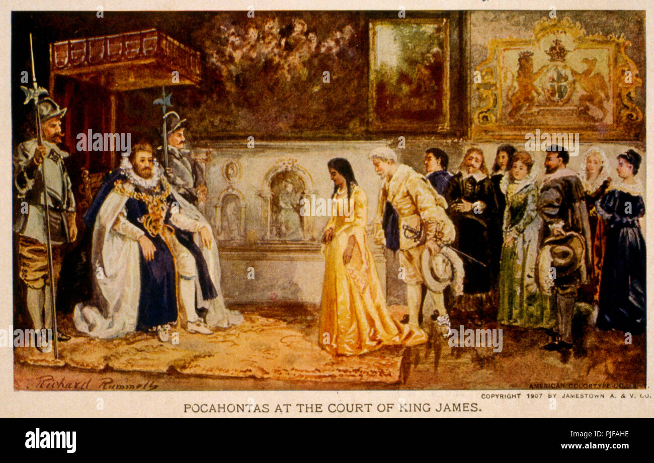 Pocahontas at the court of King James by Richard Rummels - Stock Image