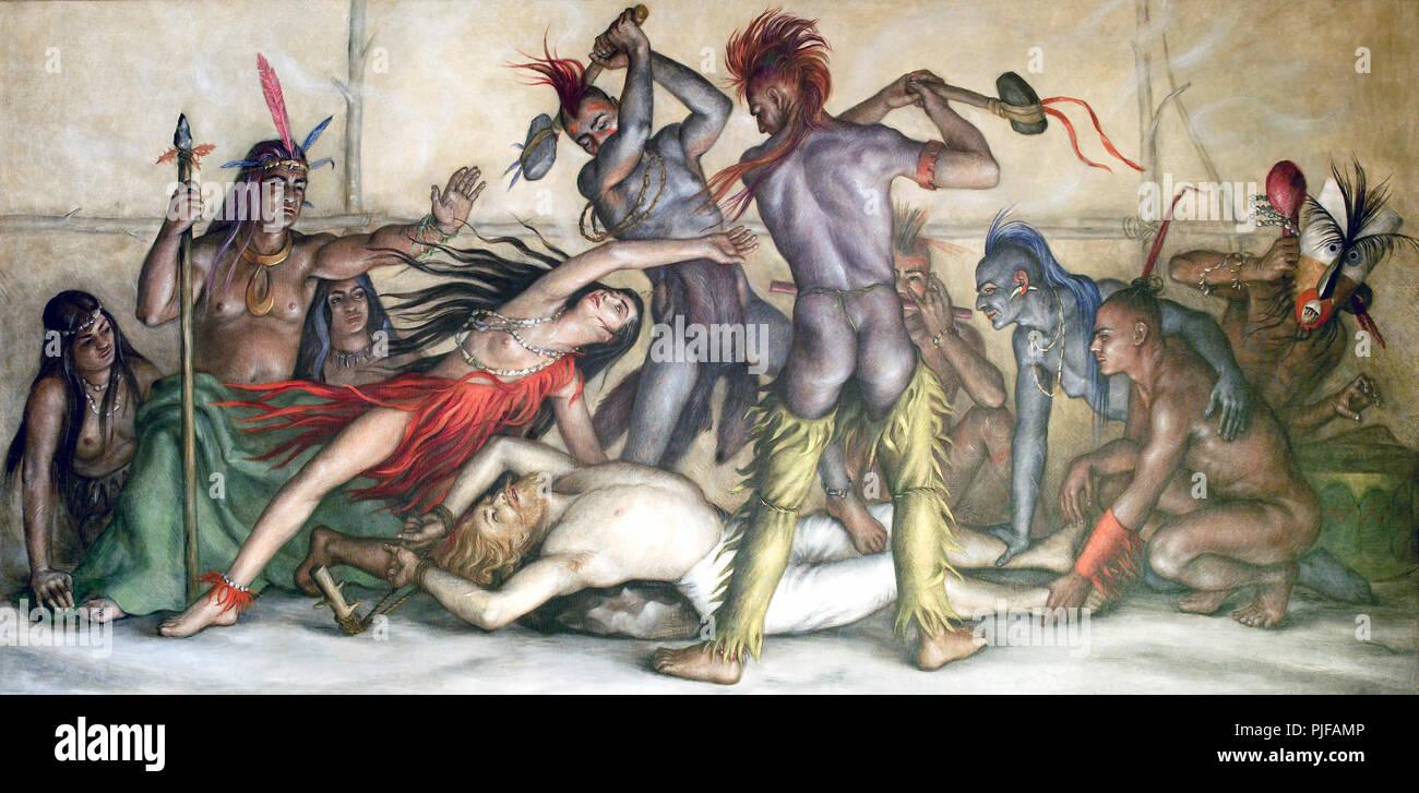 Pocahontas Saving the Life of Capitain John Smith - Stock Image