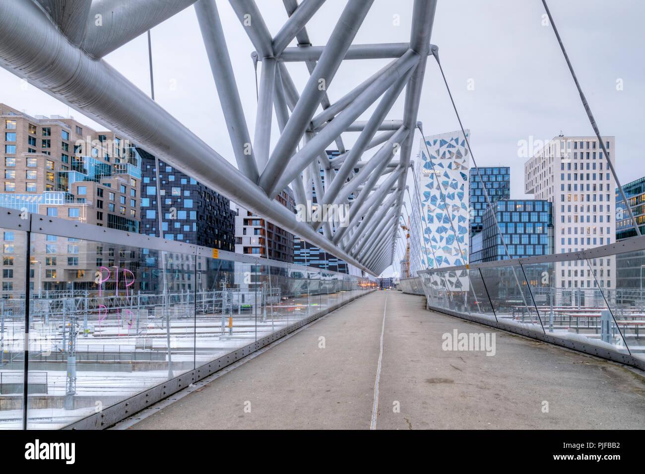 Oslo, Barcode, Akrobaten Bridge, Norway, Europe - Stock Image