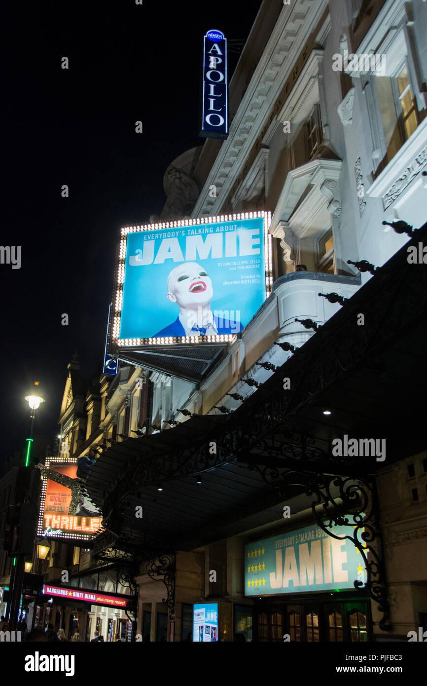 Dan Gillespie Sells' Jamie at the Apollo theatre on Shaftesbury Avenue, Soho, London, UK - Stock Image
