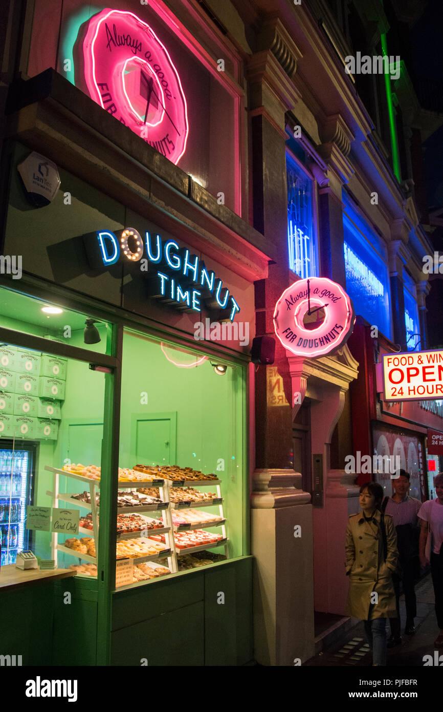 Doughnut Time on Shaftesbury Avenue, Soho, London, UK - Stock Image
