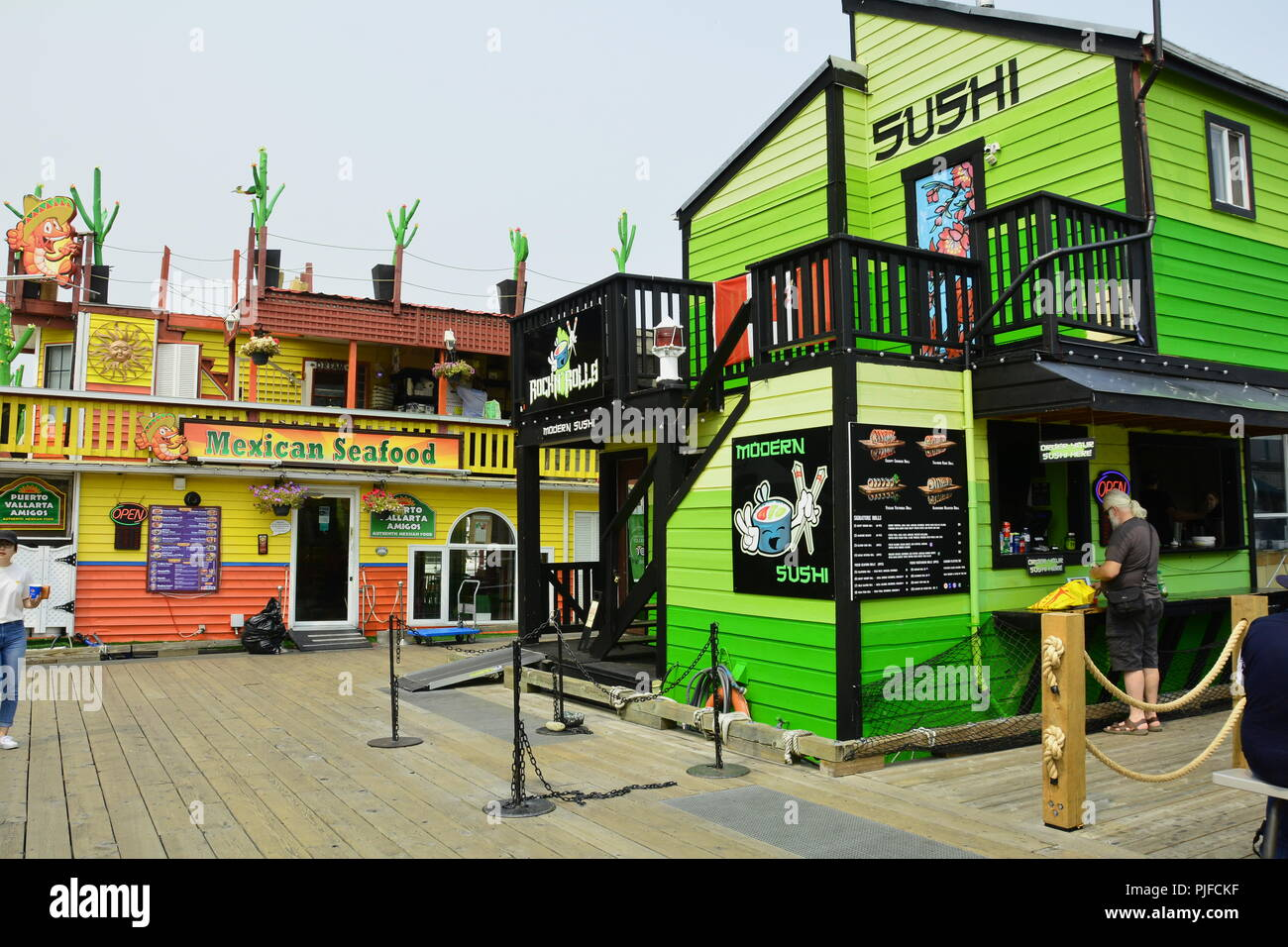 Restaurants at Fisherman's wharf in Victoria BC,Canada Stock Photo