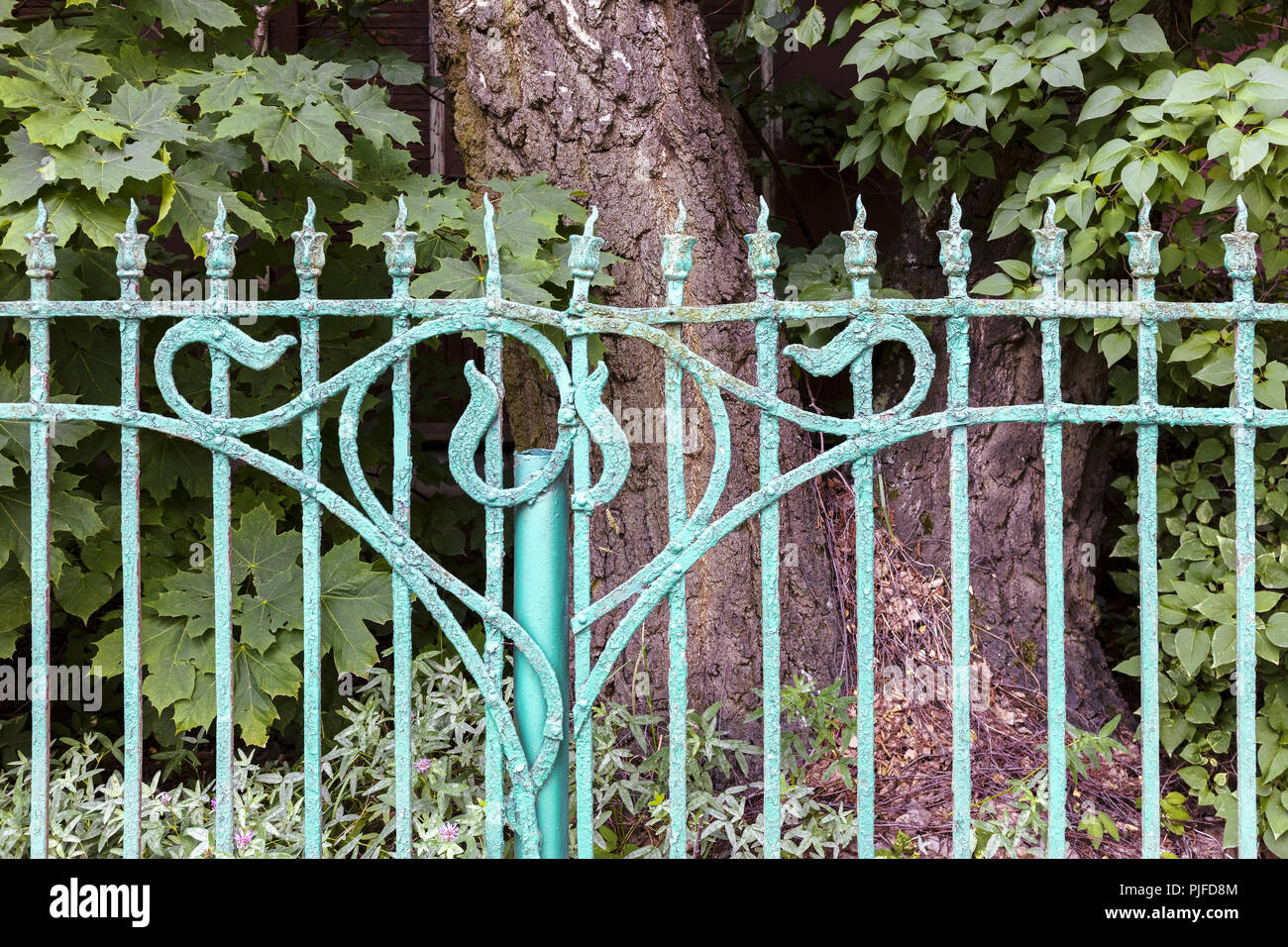 Old Metal Decorative Garden Fence Painted Blue With Paint Peeling Off