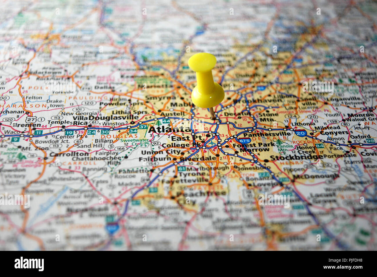 A Map Of Atlanta Georgia.A Map Of Atlanta Georgia Marked With A Push Pin Stock Photo