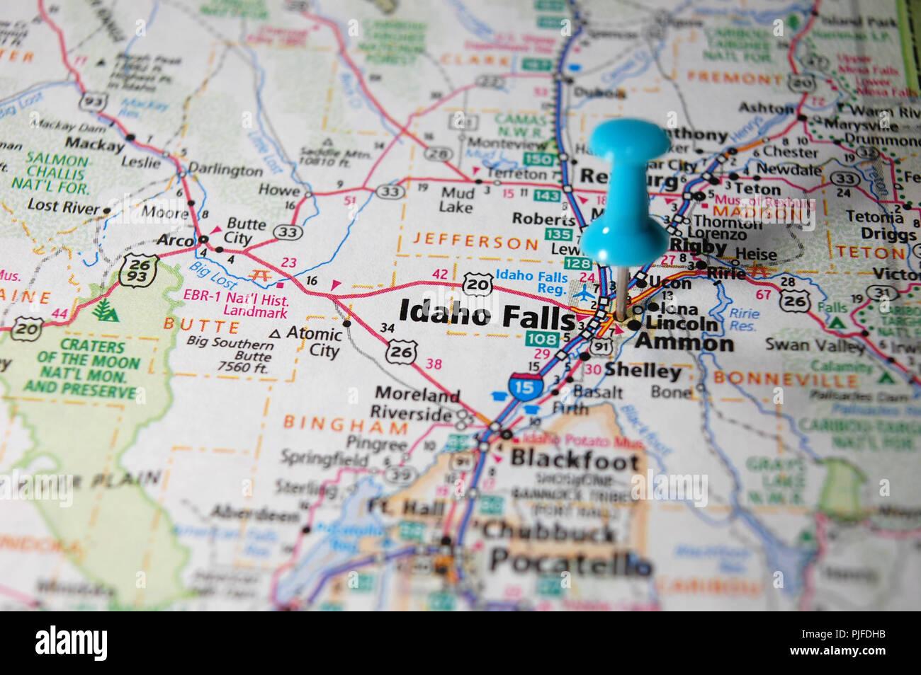 idaho falls city map A Map Of Idaho Falls Idaho Marked With A Push Pin Stock Photo Alamy idaho falls city map