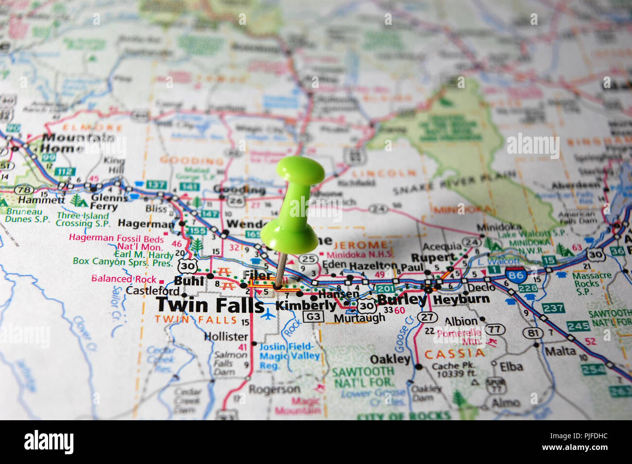 A Map Of Twin Falls Idaho Marked With A Push Pin Stock Photo