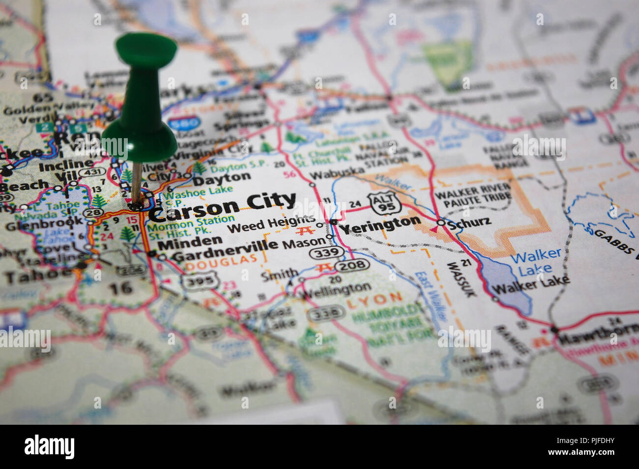 A map of Carson City, Nevada marked with a push pin Stock Photo ...