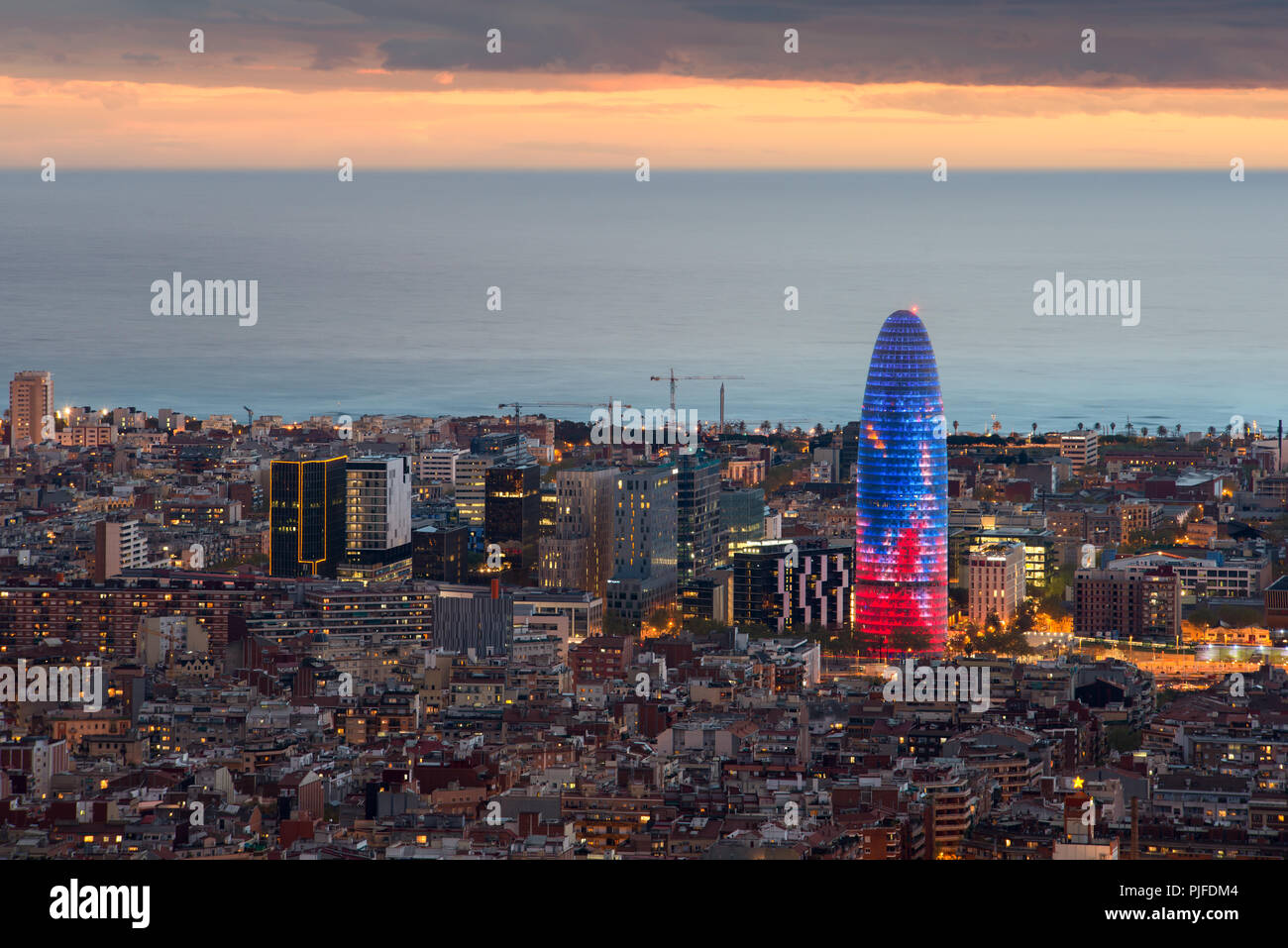 Scenic Aerial View Of Barcelona City Skyscraper And Skyline At Night In Barcelona Spain Stock Photo Alamy