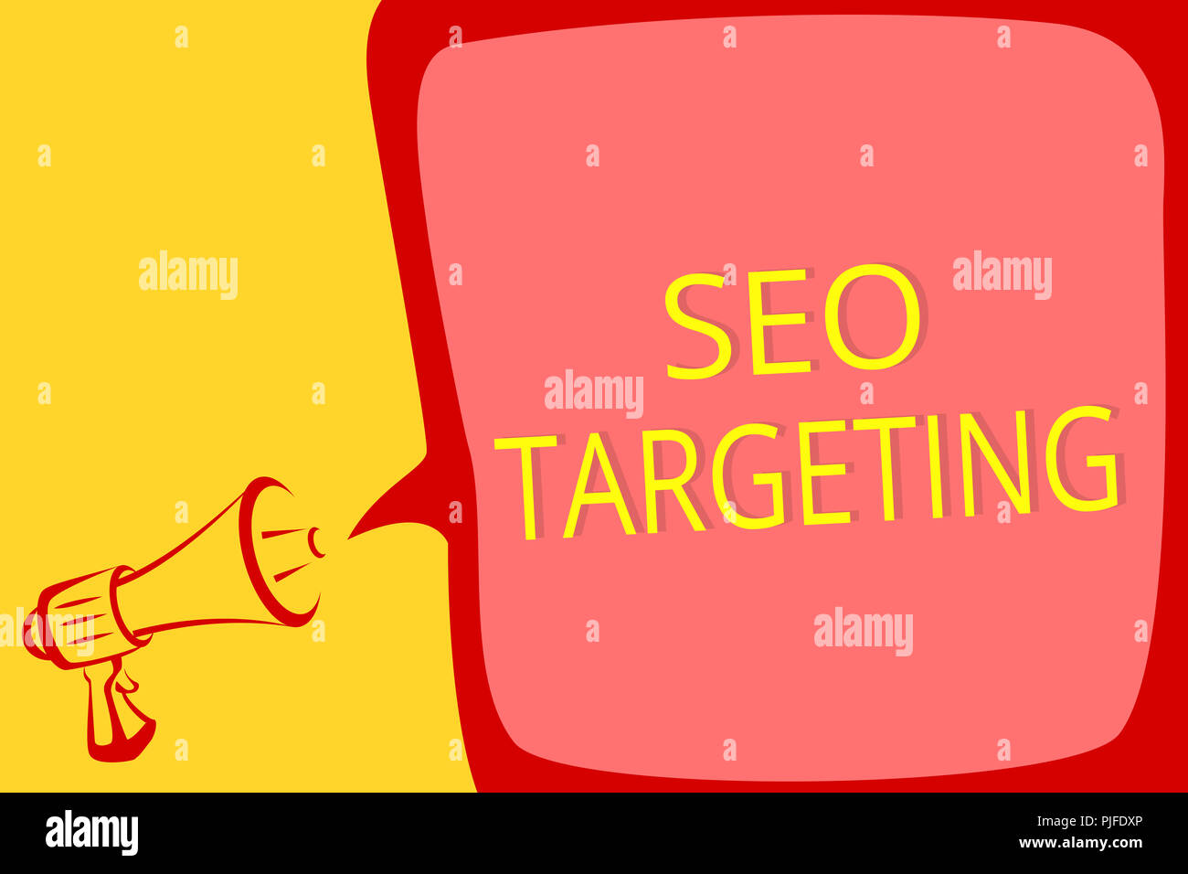 Writing note showing Seo Targeting. Business photo showcasing Specific Keywords for Location Landing Page Top Domain Megaphone loudspeaker speech bubb - Stock Image