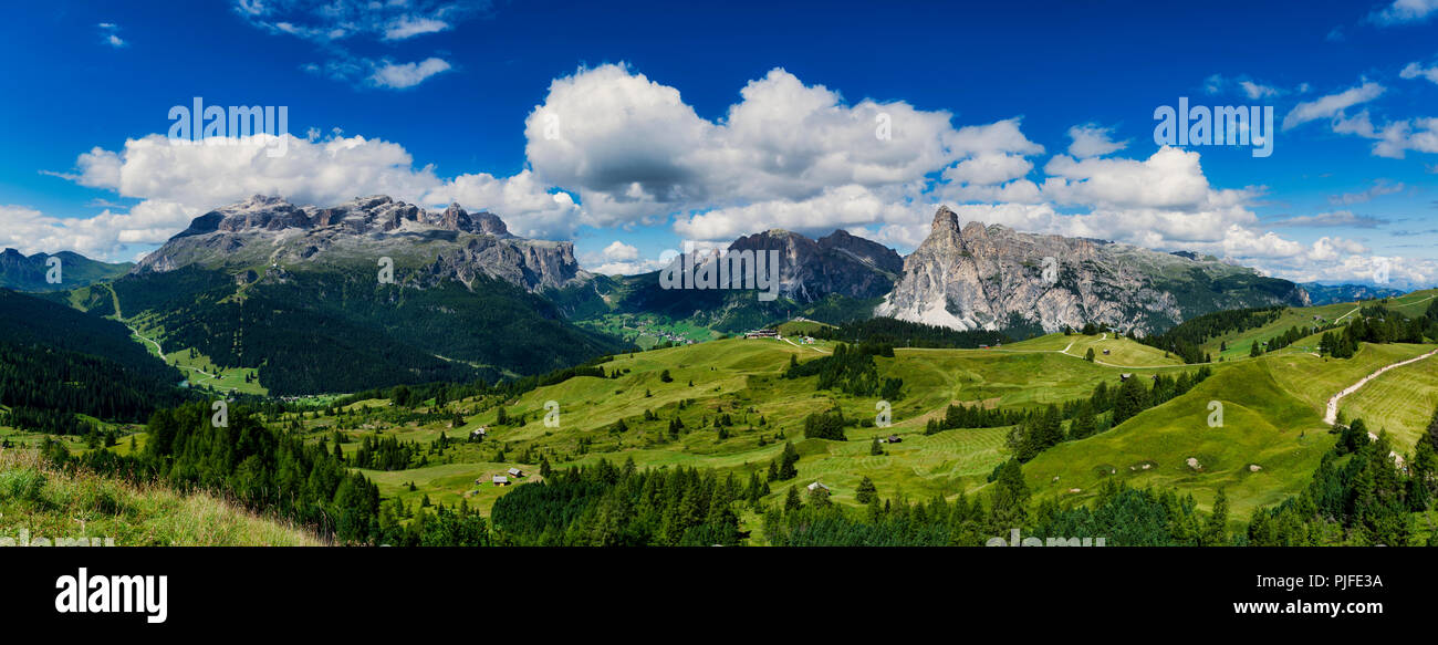 view of the mountains of Alta Badia in summer season - Sudtirol, Italy - Stock Image