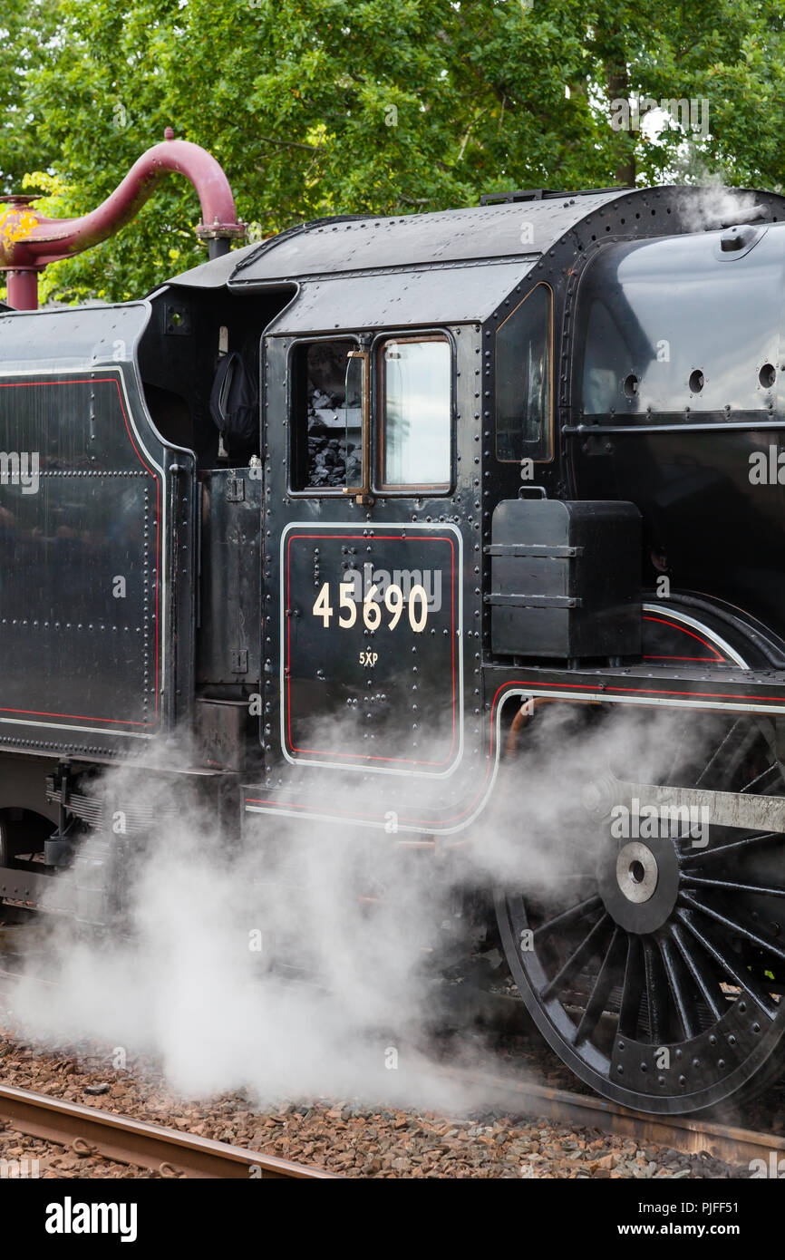 A close up of steam train 45690, Leander, at Appleby in Cumbria, England,  on the Settle to Carlisle railway. - Stock Image