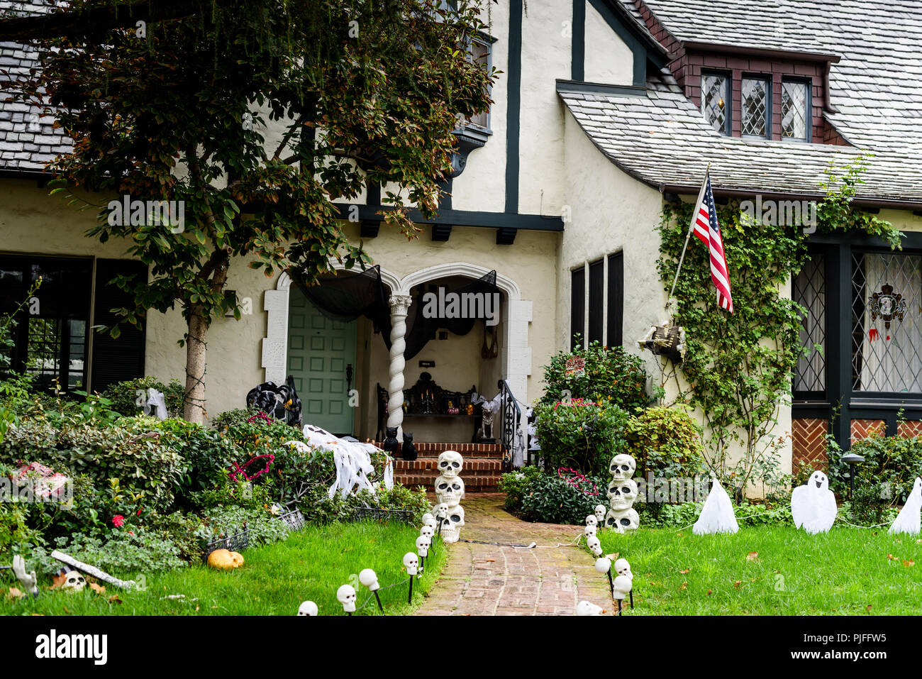 Halloween In Front Of House Decorations Stock Photo 217929969 Alamy