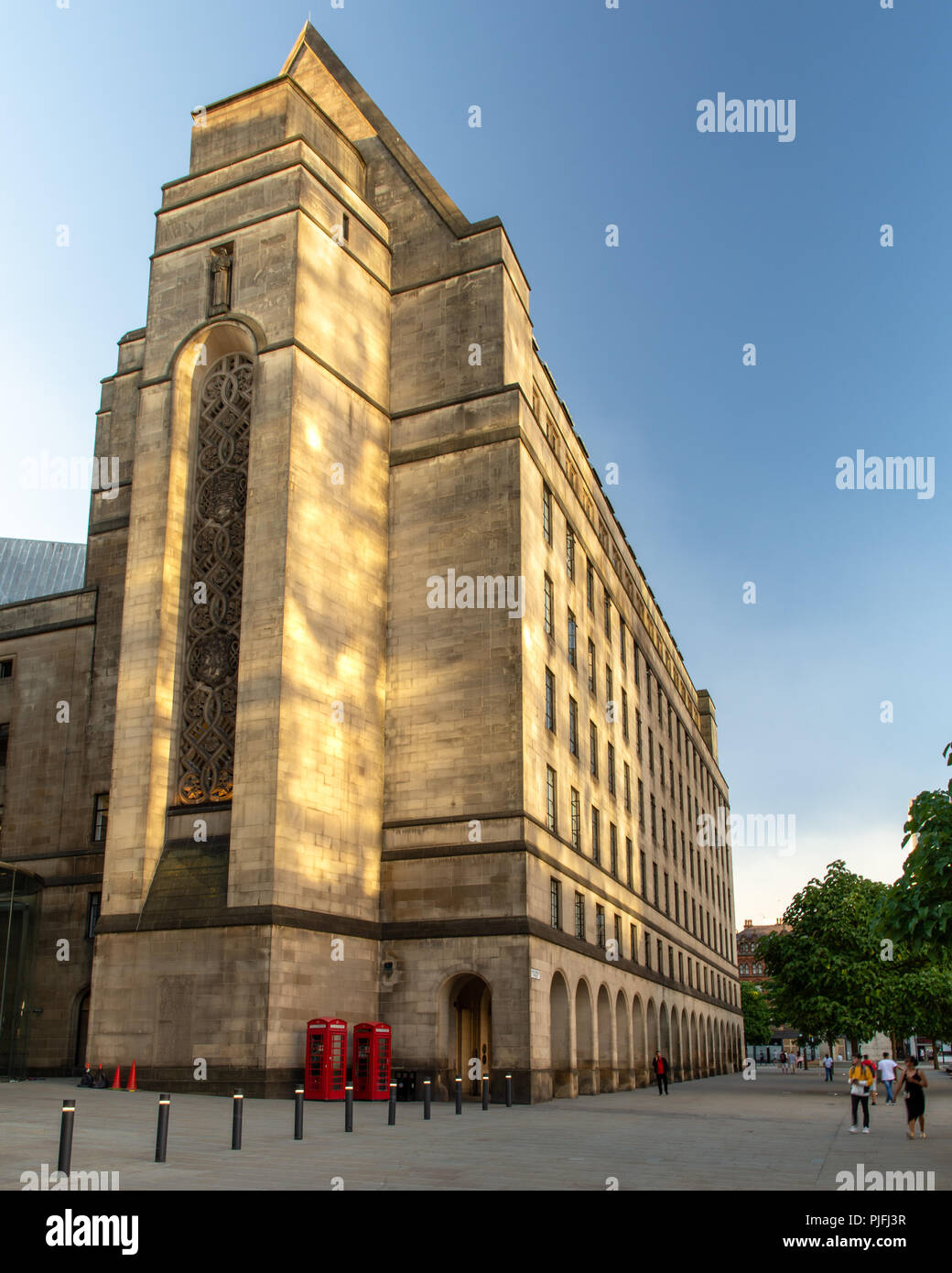 Manchester, England, UK - June 30, 2018: Manchester's Town Hall Extension building, blending gothic and classical styles, stands in evening sunlight o - Stock Image