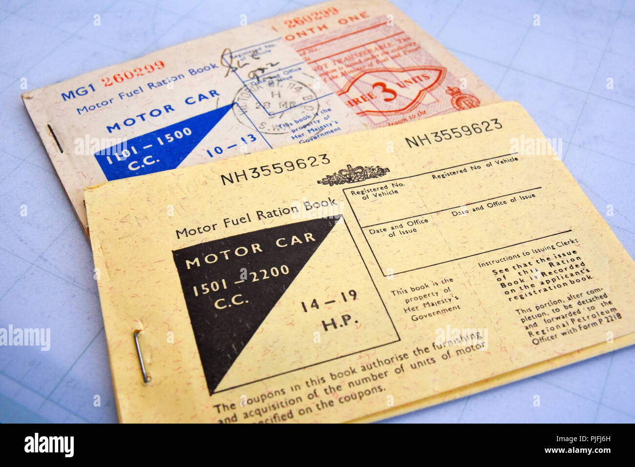 Motor fuel ration book. Petrol rationing. Fuel rations. Coupons for the purchase of motor car fuel, petrol, during post war rationing. Austerity Stock Photo