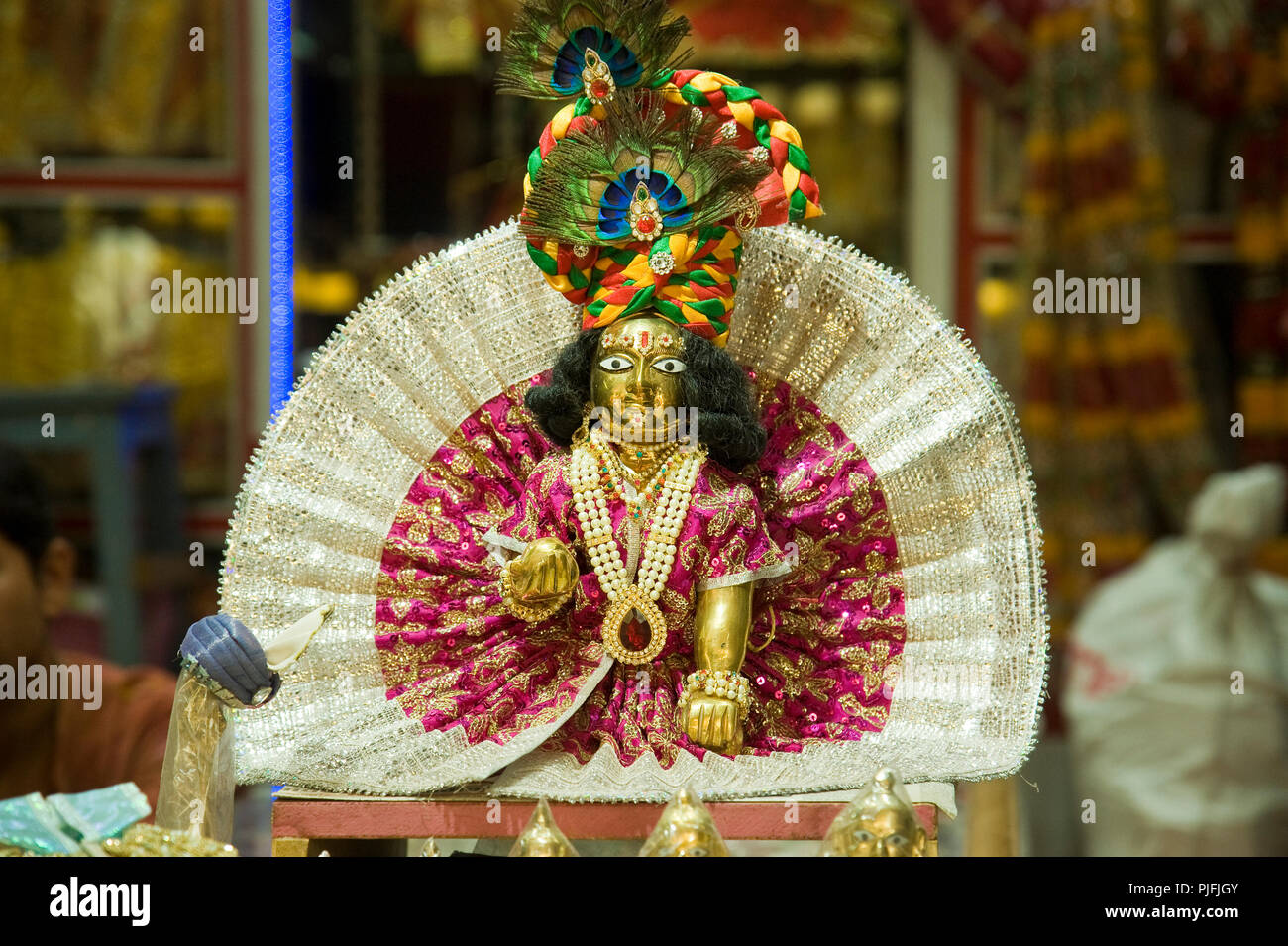 market of temple item laddu gopal or baby krishna or bal gopal at vrindavan mathura uttar pradesh india asia south asia PJFJGY