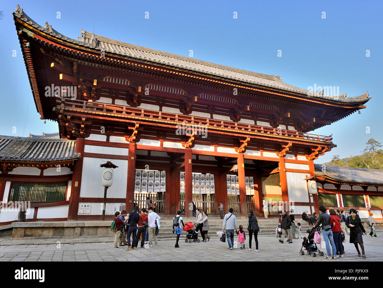 Japan, Honshu, Nara, entrance of the Buddhist temple Todai-ji (UNESCO Worlds Heritage Site, 8th Century) - Stock Image
