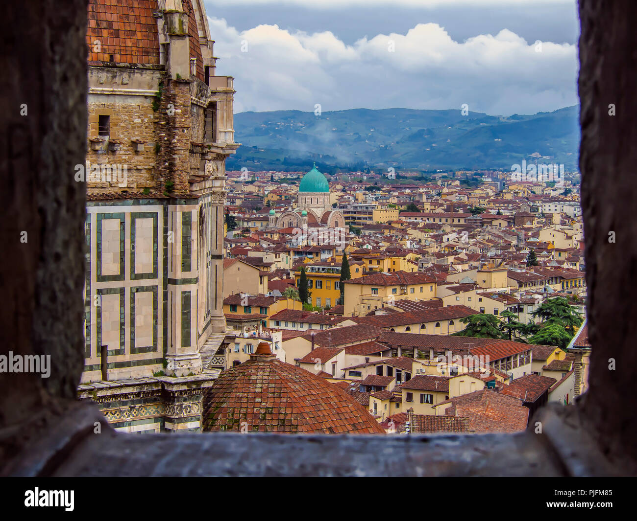 Italy, Tuscany, Florence, view of the Great Synagogue from Giotto's Campanile Stock Photo