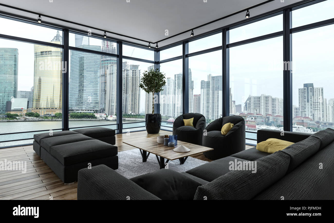 Contemporary living room with black chairs and small coffee table