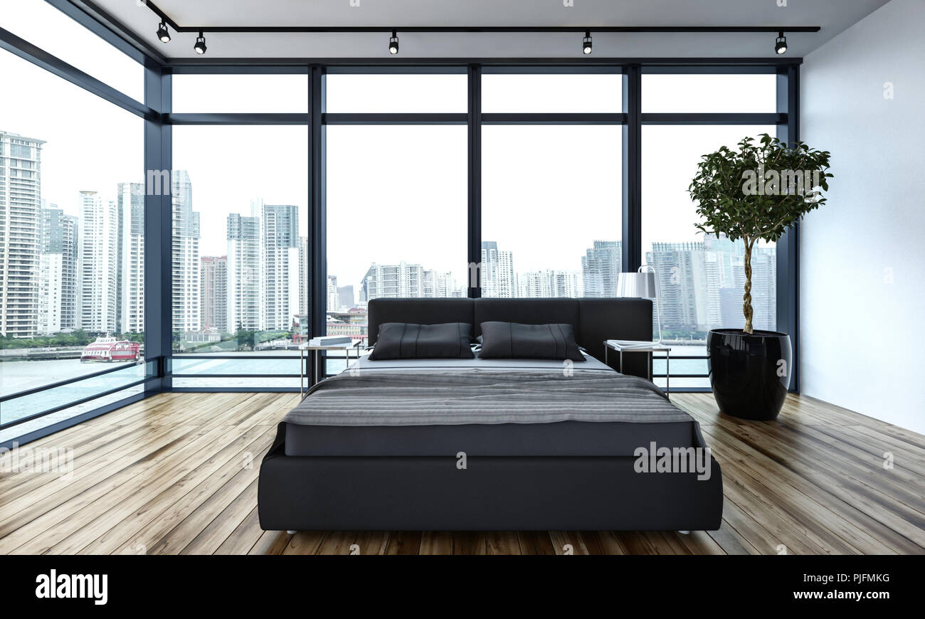 Modern minimalist bedroom interior in the city overlooking the waterfront and CBD through large wrap around glass windows. 3d rendering & Modern minimalist bedroom interior in the city overlooking the ...
