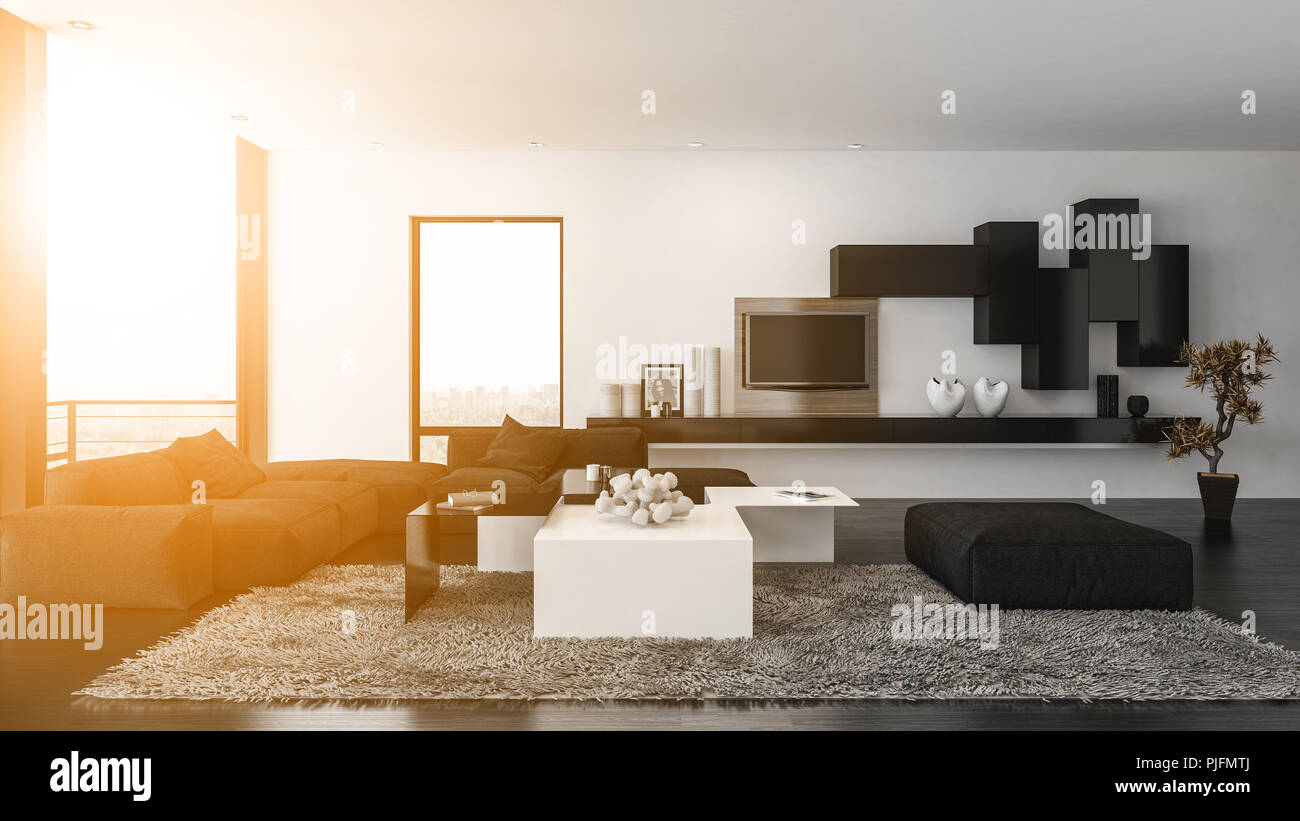 Comfortable cozy modern living room interior lit by a warm glow from ...