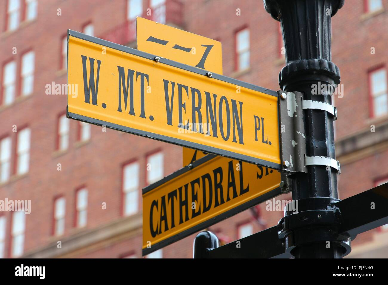 Baltimore, Maryland in the United States. Famous landmark - Mount Vernon Place. Stock Photo