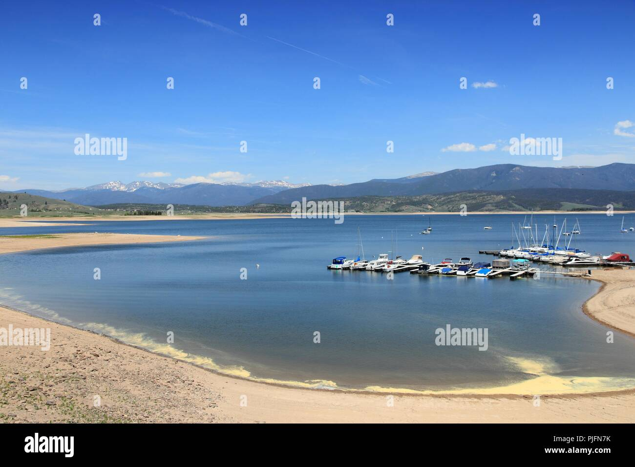 Colorado, United States - Lake Granby view with Rocky Mountains in background. Part of Arapaho National Recreation Area. - Stock Image