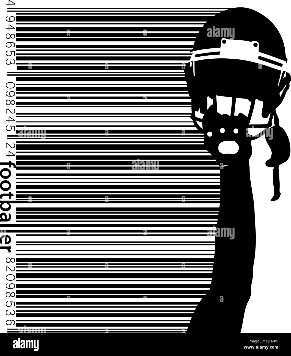 football helmet and hand silhouette. Background and text on a separate layer, color can be changed in one click. Rugby. American football - Stock Image
