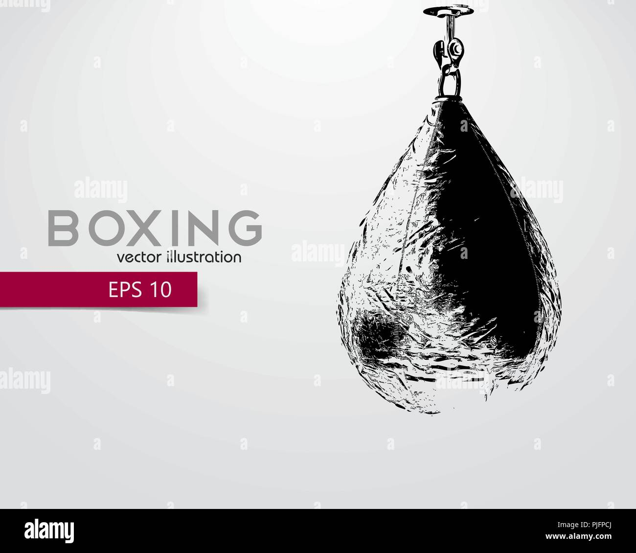 Punching bag silhouette. Background and text on a separate layer, color can be changed in one click. Boxer. Boxing. Punching bag silhouette - Stock Vector