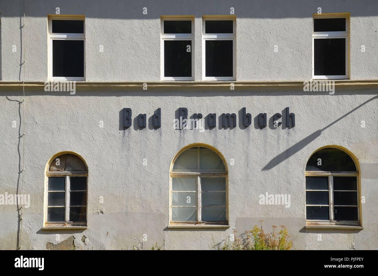 Bad Brambach (Deutschland) an der tschechischen Grenze: der Bahnhof - Stock Image