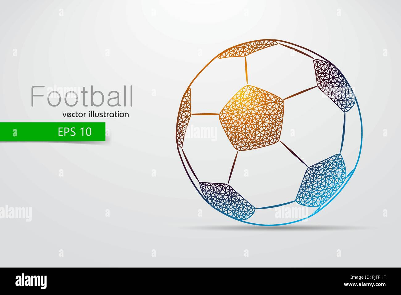 silhouette of a soccer ball from triangles. Text and background on a separate layer, color can be changed in one click. Stock Vector