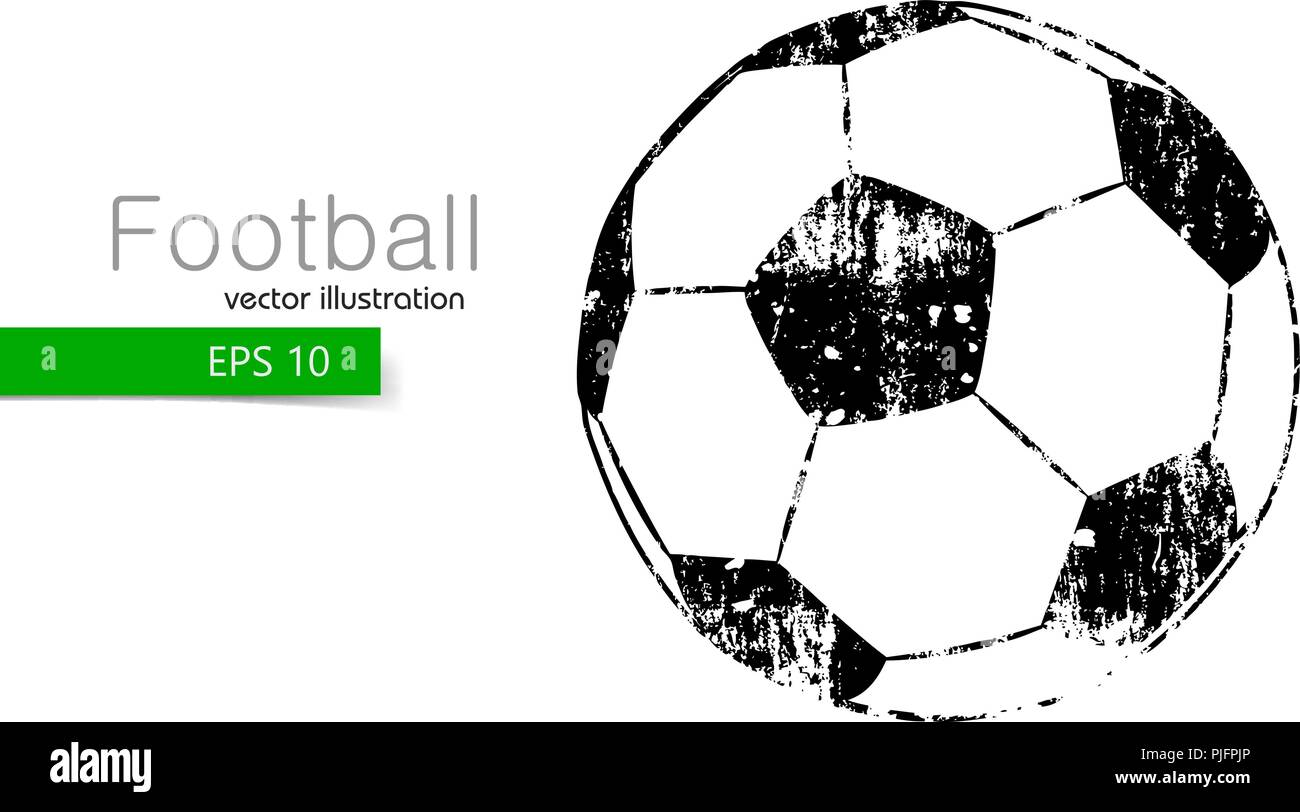 silhouette of a soccer ball. Text and background on a separate layer, color can be changed in one click. - Stock Image