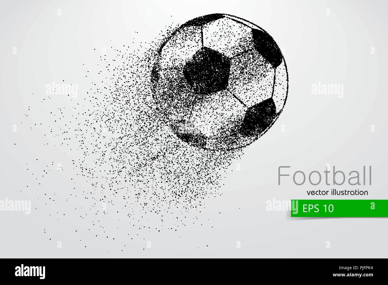 silhouette of a soccer ball from particles. Text and background on a separate layer, color can be changed in one click. Stock Vector