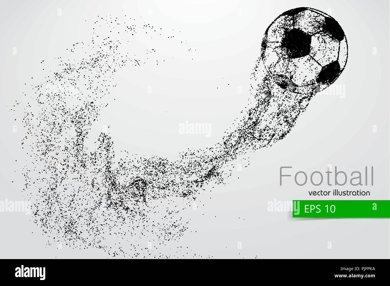 silhouette of a soccer ball from particles. Text and background on a separate layer, color can be changed in one click. - Stock Vector