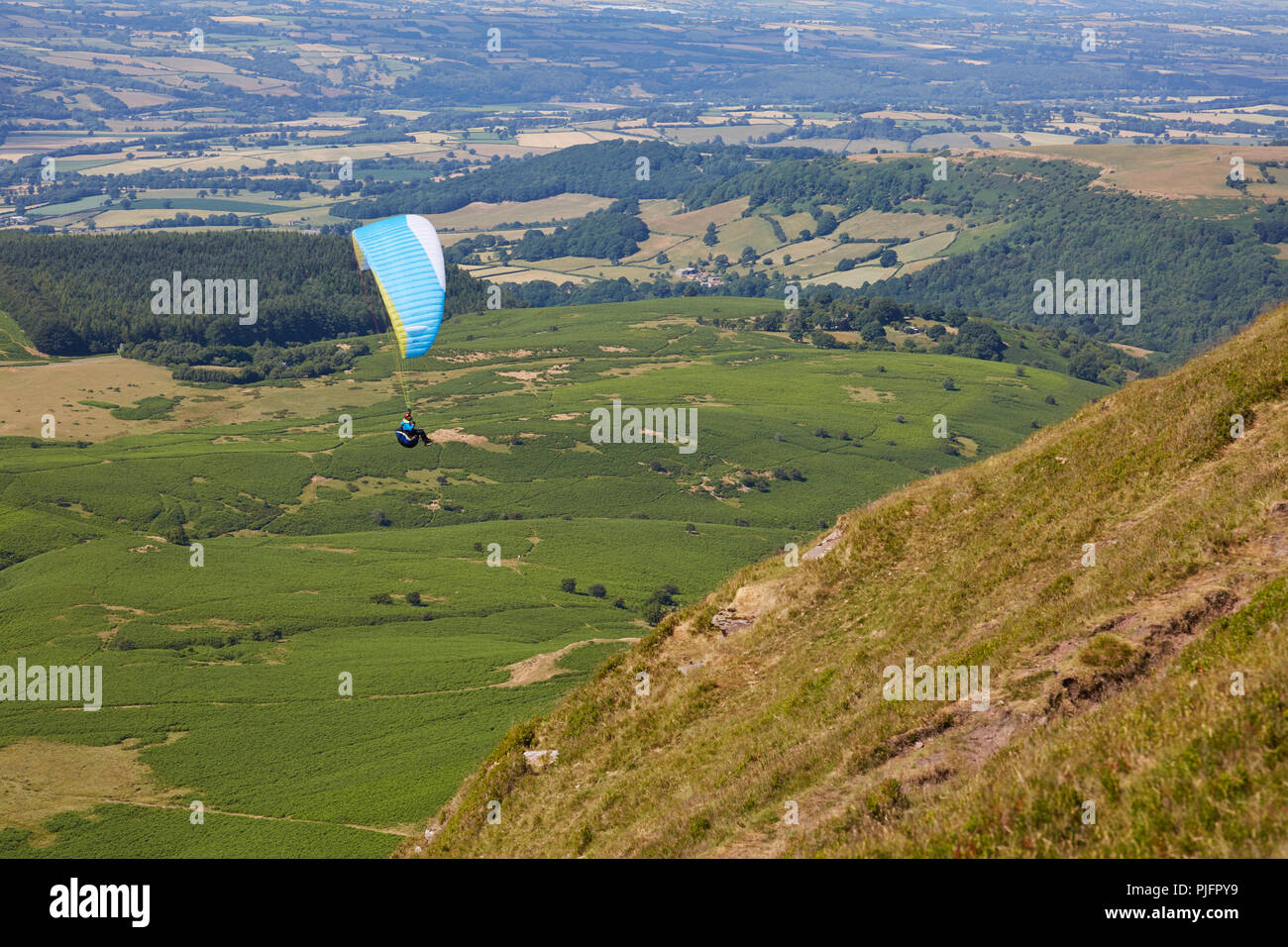 A lone paraglider flying high up in the sky above green fields in Wales UK on a sunny day - Stock Image