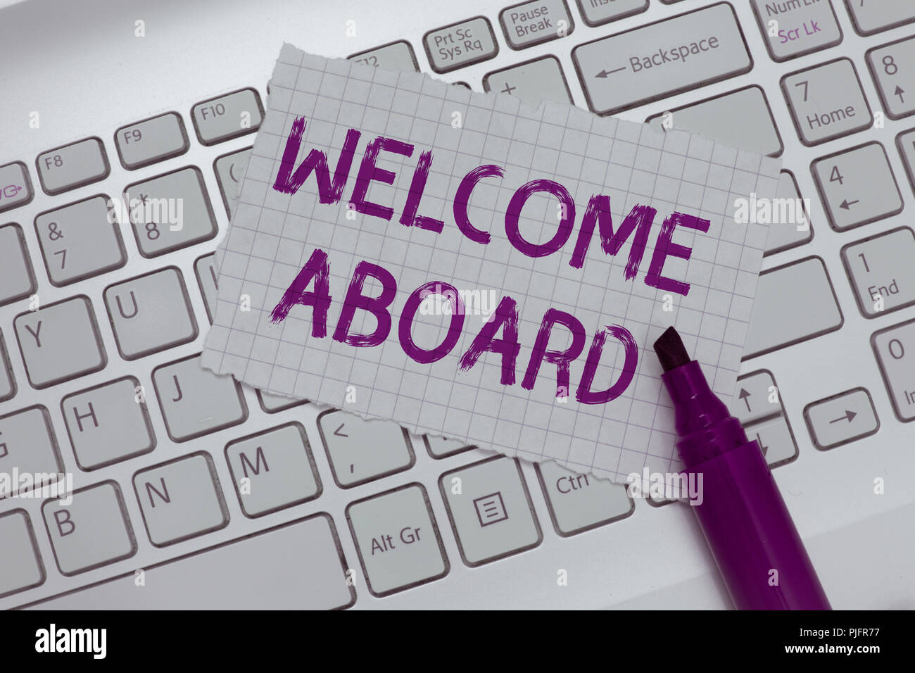 Conceptual hand writing showing welcome aboard business photo text conceptual hand writing showing welcome aboard business photo text expression of greetings to a person whose arrived is desired m4hsunfo